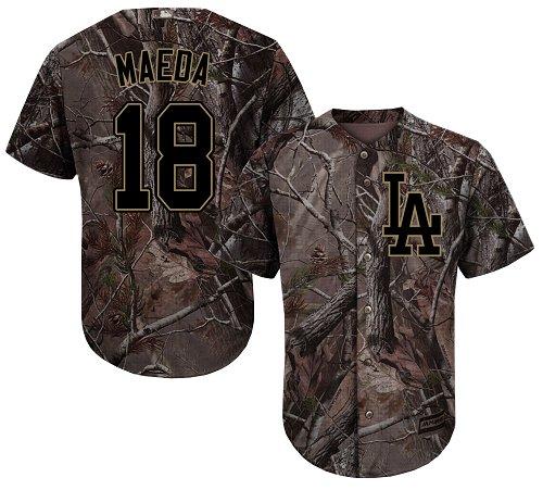 Men's Majestic Los Angeles Dodgers #18 Kenta Maeda Authentic Camo Realtree Collection Flex Base MLB Jersey