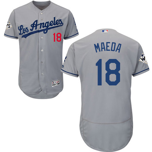 Men's Majestic Los Angeles Dodgers #18 Kenta Maeda Authentic Grey Road 2017 World Series Bound Flex Base MLB Jersey