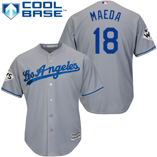 Men's Majestic Los Angeles Dodgers #18 Kenta Maeda Replica Grey Road 2017 World Series Bound Cool Base MLB Jersey