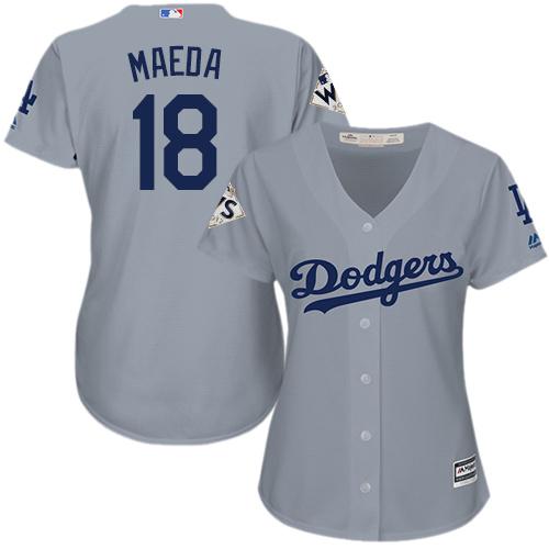Women's Majestic Los Angeles Dodgers #18 Kenta Maeda Authentic Grey Road 2017 World Series Bound Cool Base MLB Jersey