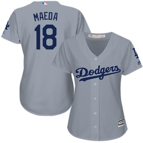 Women's Majestic Los Angeles Dodgers #18 Kenta Maeda Authentic Grey Road Cool Base MLB Jersey