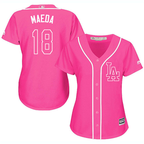 Women's Majestic Los Angeles Dodgers #18 Kenta Maeda Authentic Pink Fashion Cool Base MLB Jersey