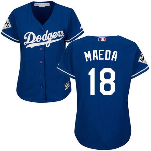 Women's Majestic Los Angeles Dodgers #18 Kenta Maeda Authentic Royal Blue Alternate 2017 World Series Bound Cool Base MLB Jersey