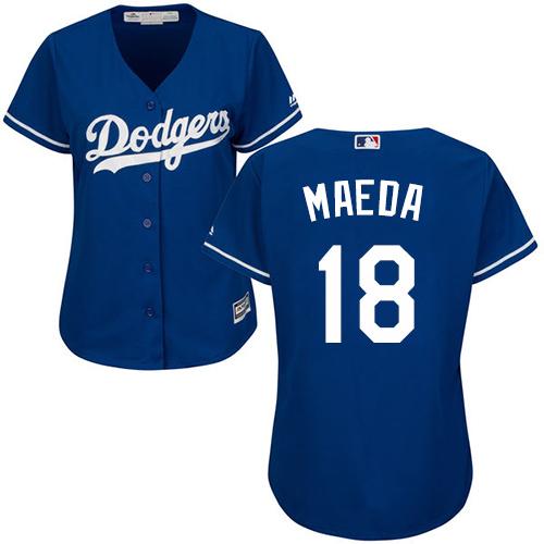 Women's Majestic Los Angeles Dodgers #18 Kenta Maeda Authentic Royal Blue Alternate Cool Base MLB Jersey