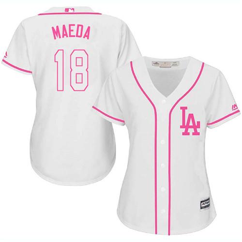 Women's Majestic Los Angeles Dodgers #18 Kenta Maeda Authentic White Fashion Cool Base MLB Jersey