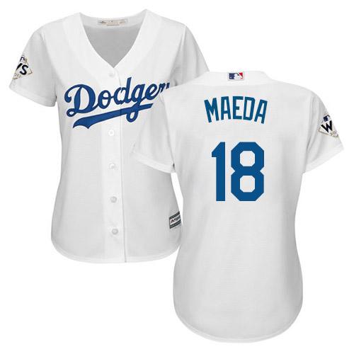 Women's Majestic Los Angeles Dodgers #18 Kenta Maeda Replica White Home 2017 World Series Bound Cool Base MLB Jersey