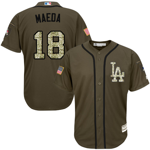 Youth Majestic Los Angeles Dodgers #18 Kenta Maeda Authentic Green Salute to Service MLB Jersey