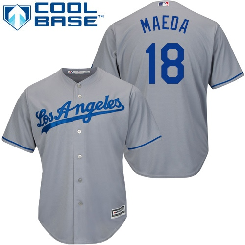 Youth Majestic Los Angeles Dodgers #18 Kenta Maeda Authentic Grey Road Cool Base MLB Jersey