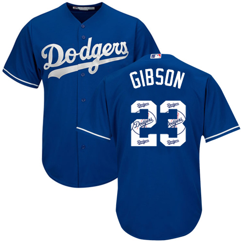 Men's Majestic Los Angeles Dodgers #23 Kirk Gibson Authentic Royal Blue Team Logo Fashion Cool Base MLB Jersey