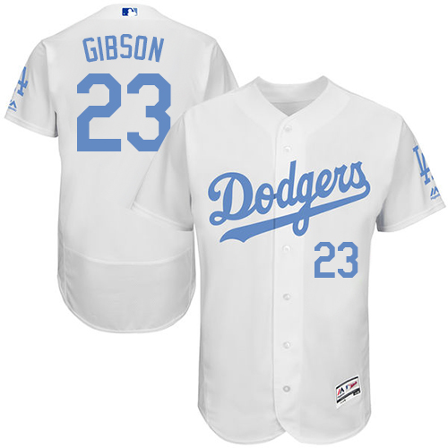 Men's Majestic Los Angeles Dodgers #23 Kirk Gibson Authentic White 2016 Father's Day Fashion Flex Base MLB Jersey