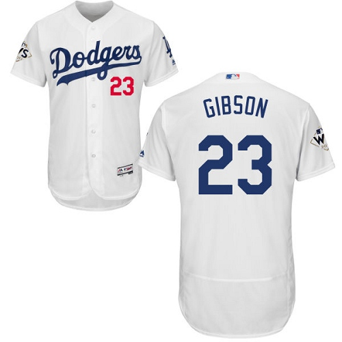 Men's Majestic Los Angeles Dodgers #23 Kirk Gibson Authentic White Home 2017 World Series Bound Flex Base MLB Jersey