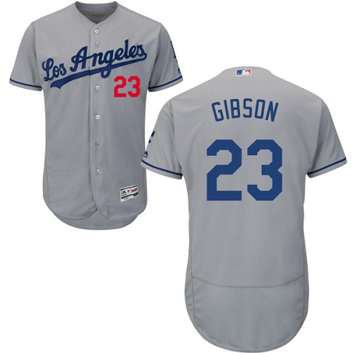 Men's Majestic Los Angeles Dodgers #23 Kirk Gibson Grey Flexbase Authentic Collection MLB Jersey