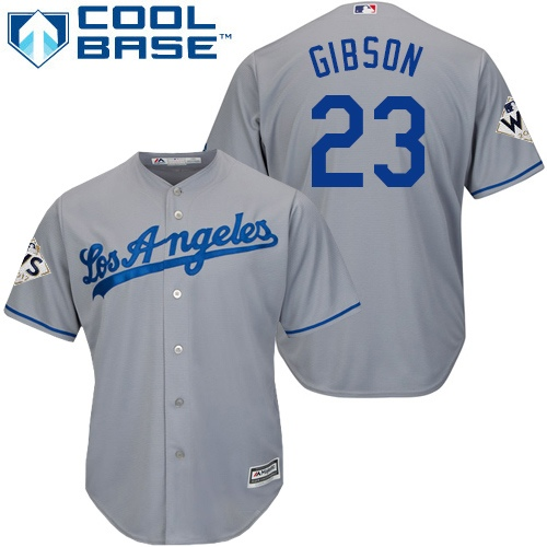 Men's Majestic Los Angeles Dodgers #23 Kirk Gibson Replica Grey Road 2017 World Series Bound Cool Base MLB Jersey