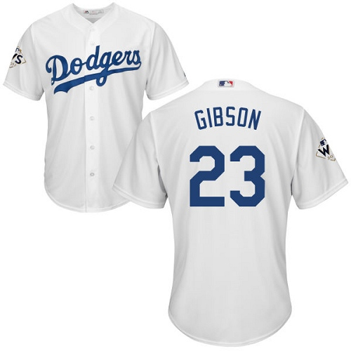 Men's Majestic Los Angeles Dodgers #23 Kirk Gibson Replica White Home 2017 World Series Bound Cool Base MLB Jersey
