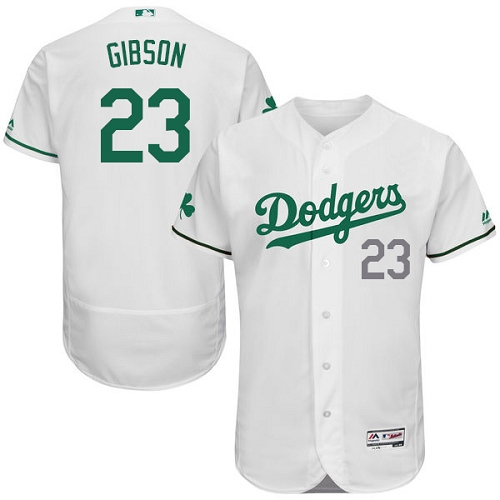 Men's Majestic Los Angeles Dodgers #23 Kirk Gibson White Celtic Flexbase Authentic Collection MLB Jersey