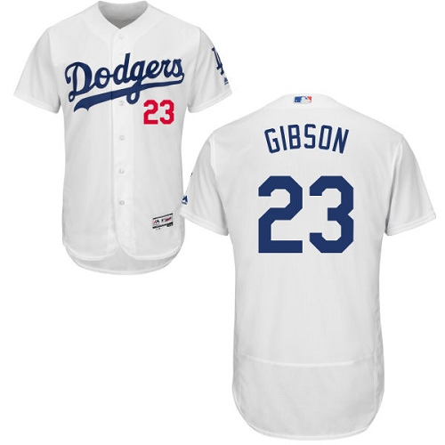 Men's Majestic Los Angeles Dodgers #23 Kirk Gibson White Home Flex Base Authentic Collection MLB Jersey