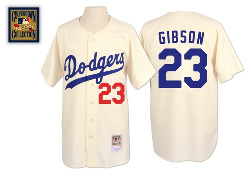Men's Mitchell and Ness Los Angeles Dodgers #23 Kirk Gibson Authentic Cream Throwback MLB Jersey