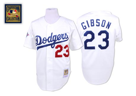 Men's Mitchell and Ness Los Angeles Dodgers #23 Kirk Gibson Authentic White Throwback MLB Jersey