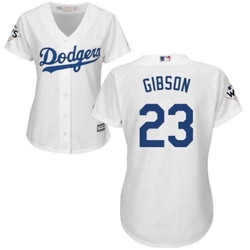 Women's Majestic Los Angeles Dodgers #23 Kirk Gibson Authentic White Home 2017 World Series Bound Cool Base MLB Jersey