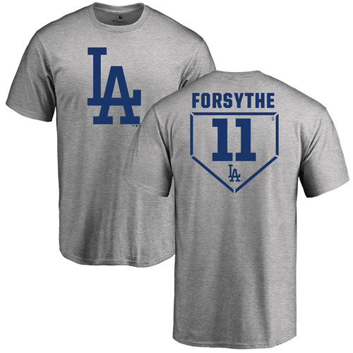 MLB Nike Los Angeles Dodgers #11 Logan Forsythe Gray RBI T-Shirt