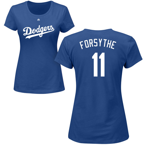 MLB Women's Nike Los Angeles Dodgers #11 Logan Forsythe Royal Blue Name & Number T-Shirt