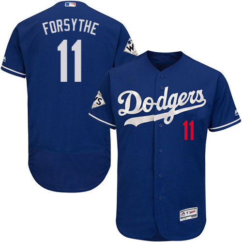 Men's Majestic Los Angeles Dodgers #11 Logan Forsythe Authentic Royal Blue Alternate 2017 World Series Bound Flex Base MLB Jersey