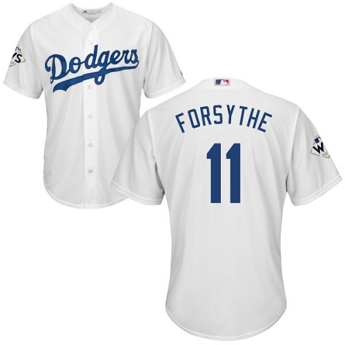 Men's Majestic Los Angeles Dodgers #11 Logan Forsythe Replica White Home 2017 World Series Bound Cool Base MLB Jersey