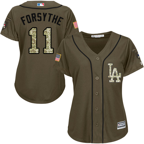 Women's Majestic Los Angeles Dodgers #11 Logan Forsythe Authentic Green Salute to Service MLB Jersey