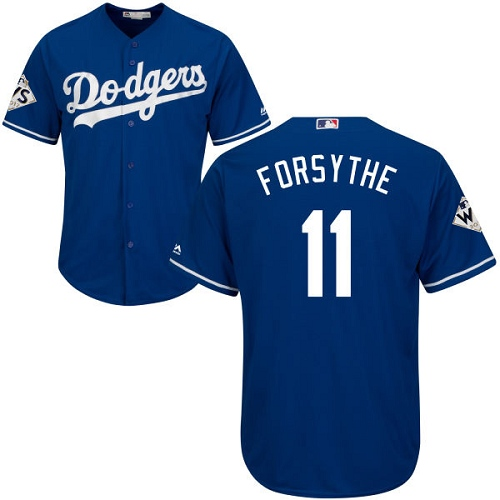 Youth Majestic Los Angeles Dodgers #11 Logan Forsythe Authentic Royal Blue Alternate 2017 World Series Bound Cool Base MLB Jersey