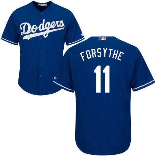 Youth Majestic Los Angeles Dodgers #11 Logan Forsythe Authentic Royal Blue Alternate Cool Base MLB Jersey
