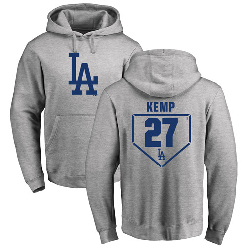 MLB Nike Los Angeles Dodgers #27 Matt Kemp Gray RBI Pullover Hoodie