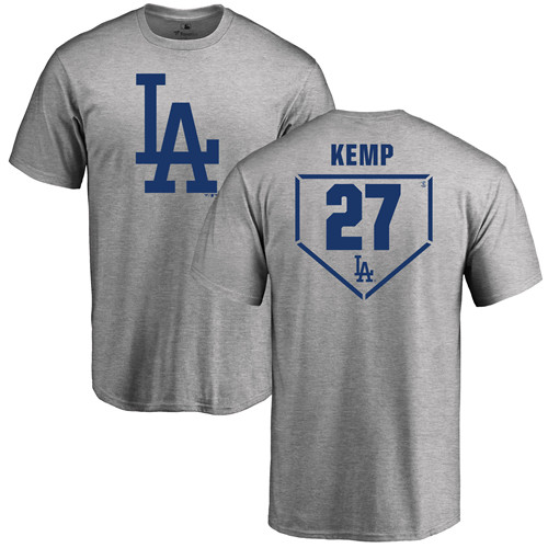 MLB Nike Los Angeles Dodgers #27 Matt Kemp Gray RBI T-Shirt