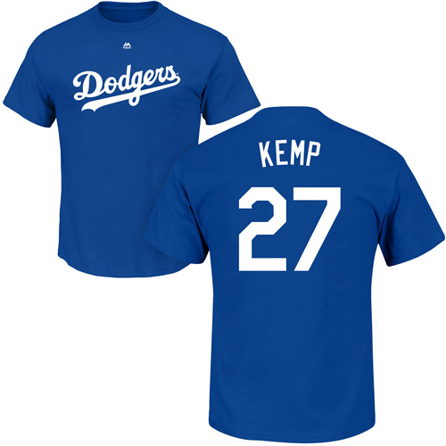 MLB Nike Los Angeles Dodgers #27 Matt Kemp Royal Blue Name & Number T-Shirt