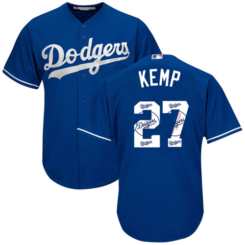 Men's Majestic Los Angeles Dodgers #27 Matt Kemp Authentic Royal Blue Team Logo Fashion Cool Base MLB Jersey