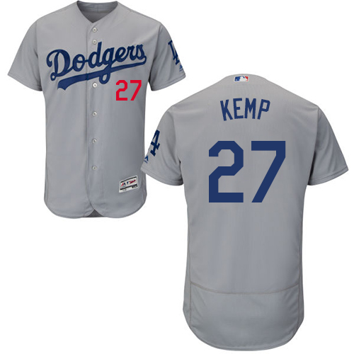 Men's Majestic Los Angeles Dodgers #27 Matt Kemp Gray Alternate Flex Base Authentic Collection MLB Jersey
