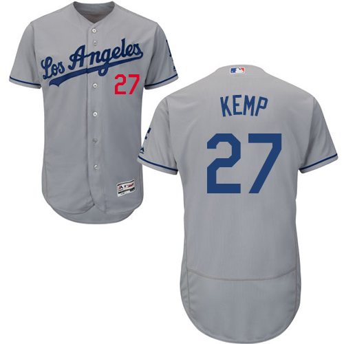 Men's Majestic Los Angeles Dodgers #27 Matt Kemp Grey Road Flex Base Authentic Collection MLB Jersey
