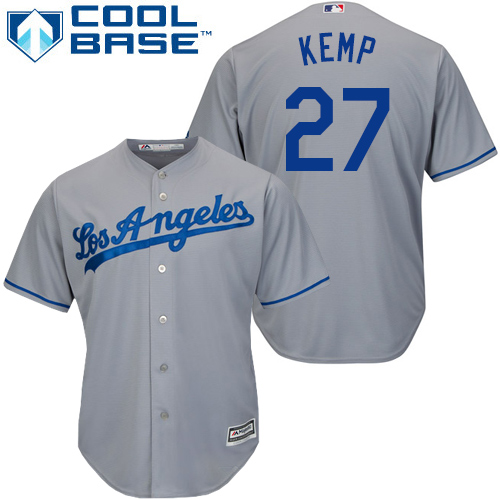 Men's Majestic Los Angeles Dodgers #27 Matt Kemp Replica Grey Road Cool Base MLB Jersey