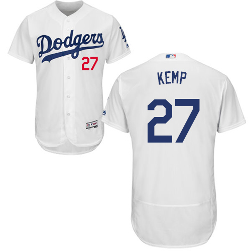 Men's Majestic Los Angeles Dodgers #27 Matt Kemp White Home Flex Base Authentic Collection MLB Jersey