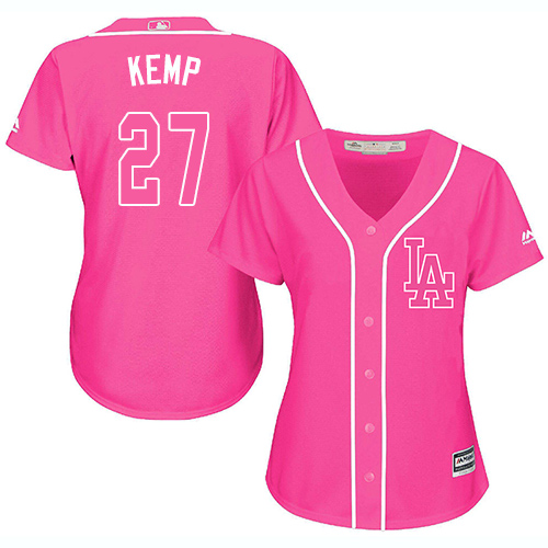 Women's Majestic Los Angeles Dodgers #27 Matt Kemp Authentic Pink Fashion Cool Base MLB Jersey
