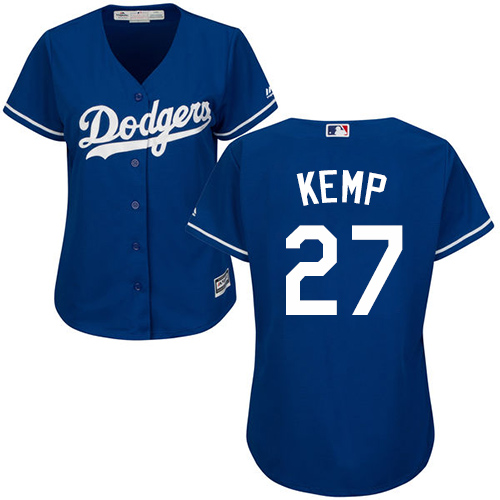 Women's Majestic Los Angeles Dodgers #27 Matt Kemp Authentic Royal Blue Alternate Cool Base MLB Jersey