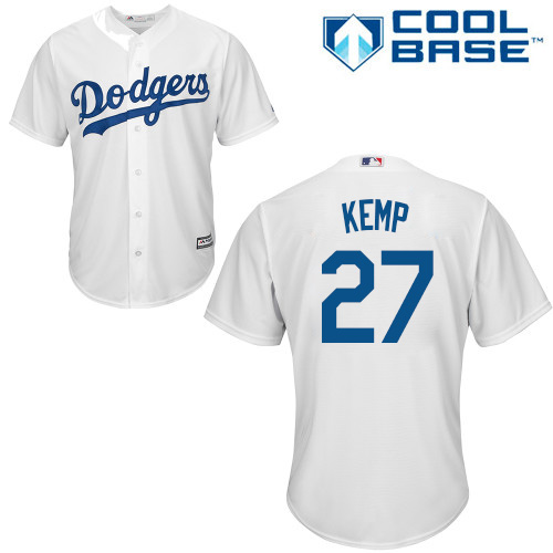 Youth Majestic Los Angeles Dodgers #27 Matt Kemp Authentic White Home Cool Base MLB Jersey