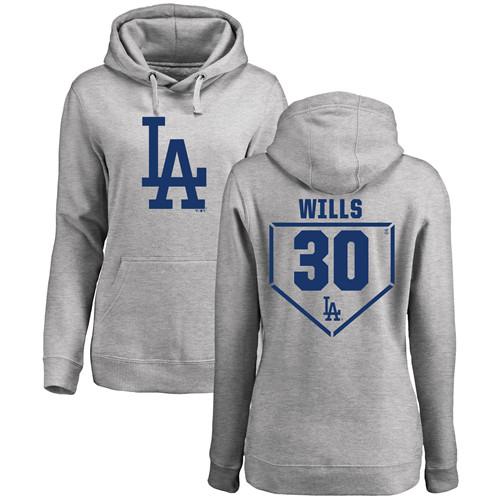 MLB Women's Nike Los Angeles Dodgers #30 Maury Wills Gray RBI Pullover Hoodie