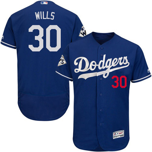 Men's Majestic Los Angeles Dodgers #30 Maury Wills Authentic Royal Blue Alternate 2017 World Series Bound Flex Base MLB Jersey