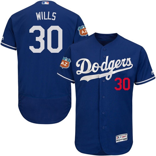 Men's Majestic Los Angeles Dodgers #30 Maury Wills Authentic Royal Blue Alternate Cool Base MLB Jersey