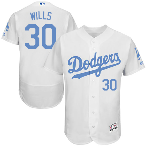 Men's Majestic Los Angeles Dodgers #30 Maury Wills Authentic White 2016 Father's Day Fashion Flex Base MLB Jersey