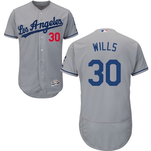 Men's Majestic Los Angeles Dodgers #30 Maury Wills Grey Flexbase Authentic Collection MLB Jersey