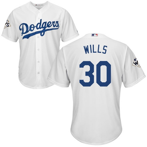 Men's Majestic Los Angeles Dodgers #30 Maury Wills Replica White Home 2017 World Series Bound Cool Base MLB Jersey
