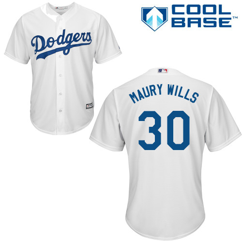 Men's Majestic Los Angeles Dodgers #30 Maury Wills Replica White Home Cool Base MLB Jersey