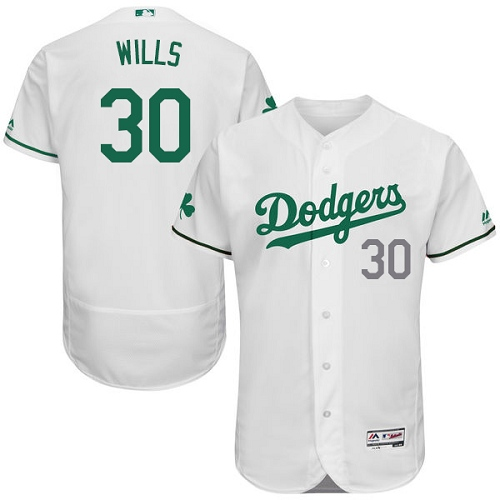 Men's Majestic Los Angeles Dodgers #30 Maury Wills White Celtic Flexbase Authentic Collection MLB Jersey