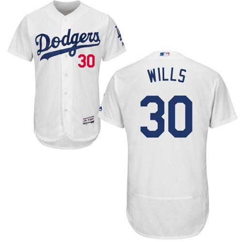 Men's Majestic Los Angeles Dodgers #30 Maury Wills White Home Flex Base Authentic Collection MLB Jersey